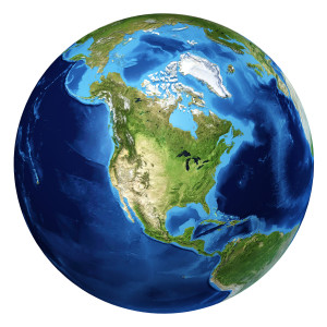 Earth globe, realistic 3 D rendering. North America view.
