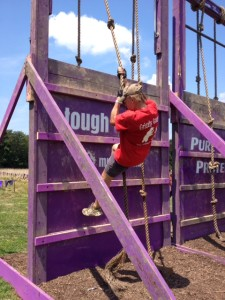 Ken climbing down the rope at The Mudderella in Clarksburg, Maryland